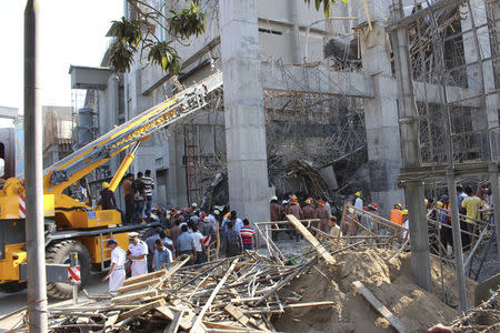 Scene of a collapsed cement factory in the port town of Mongla, southwest of Dhaka
