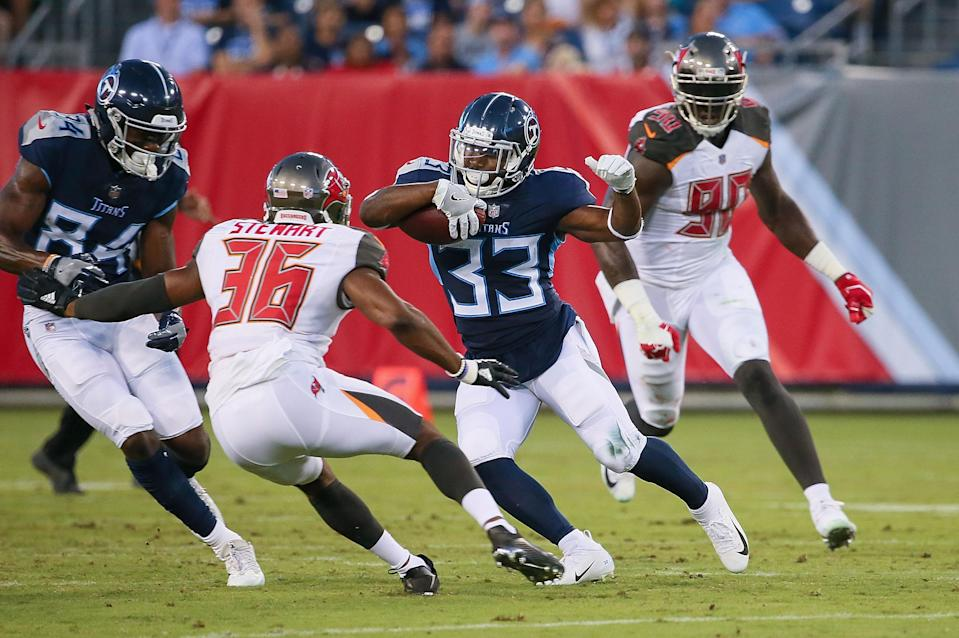 Action during the first half of a pre-season game at Nissan Stadium on August 18, 2018 in Nashville, Tennessee.
