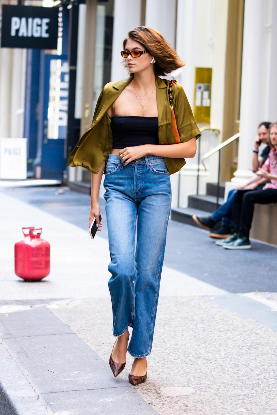 Summer looks in the city call for sandals and breezy tops.