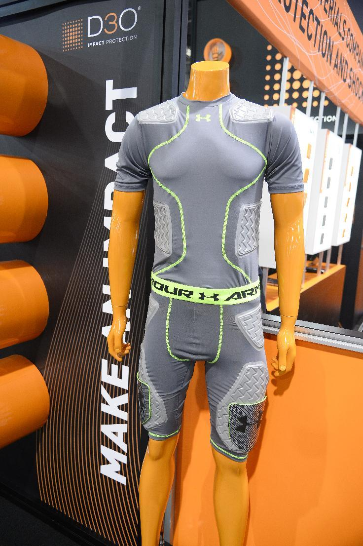 Garments from Under Armour with integrated D30 impact protection material are displayed at the Consumer Electronics Show in Las Vegas, Nevada, on January 7, 2015