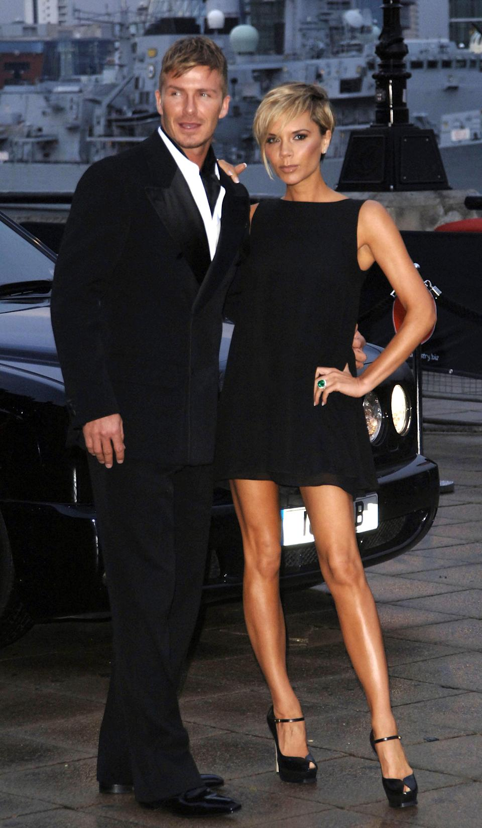 <strong>The Beckhams, posing for photographers. (PA)</strong>