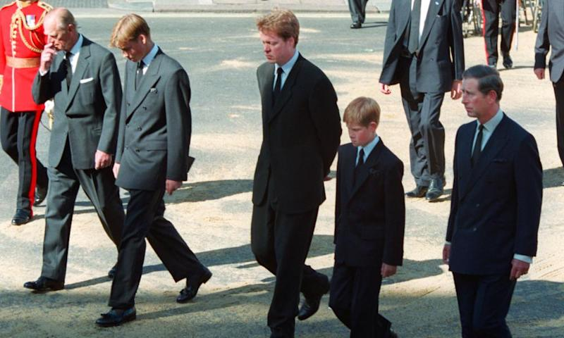 Prince Philip, Prince William, Earl Spencer, Prince Harry and Prince Charles follow the coffin of Diana, Princess of Wales.