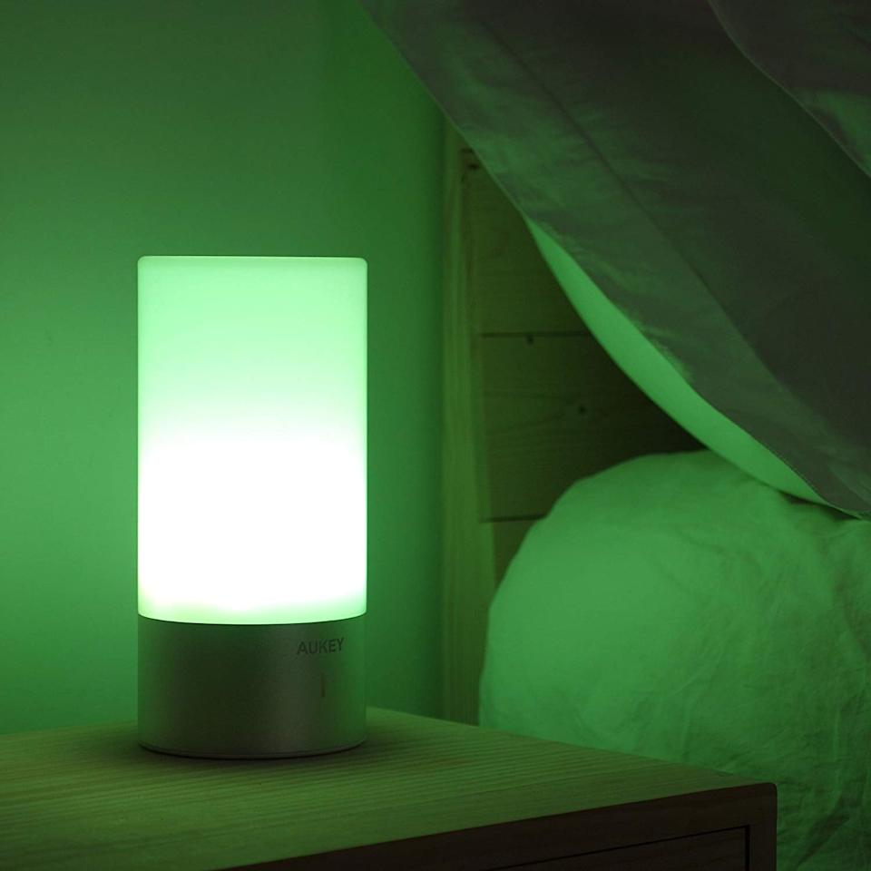 """<p>This <a href=""""https://www.popsugar.com/buy/Aukey-Touch-Sensor-Bedside-Lamp-410958?p_name=Aukey%20Touch%20Sensor%20Bedside%20Lamp&retailer=amazon.com&pid=410958&price=28&evar1=savvy%3Auk&evar9=45755135&evar98=https%3A%2F%2Fwww.popsugar.com%2Fsmart-living%2Fphoto-gallery%2F45755135%2Fimage%2F45756652%2FAukey-Touch-Sensor-Bedside-Lamp&list1=shopping%2Camazon%2Cgadgets%2Ctech%20shopping&prop13=api&pdata=1"""" rel=""""nofollow"""" data-shoppable-link=""""1"""" target=""""_blank"""" class=""""ga-track"""" data-ga-category=""""Related"""" data-ga-label=""""https://www.amazon.com/AUKEY-Bedside-Dimmable-Changing-Bedrooms/dp/B01AJ7F14I/ref=sr_1_5?s=electronics&amp;ie=UTF8&amp;qid=1549417591&amp;sr=1-5&amp;keywords=smart+light"""" data-ga-action=""""In-Line Links"""">Aukey Touch Sensor Bedside Lamp</a> ($28) is designed to help you sleep better. Plus, you can set it to tons of fun colors.</p>"""