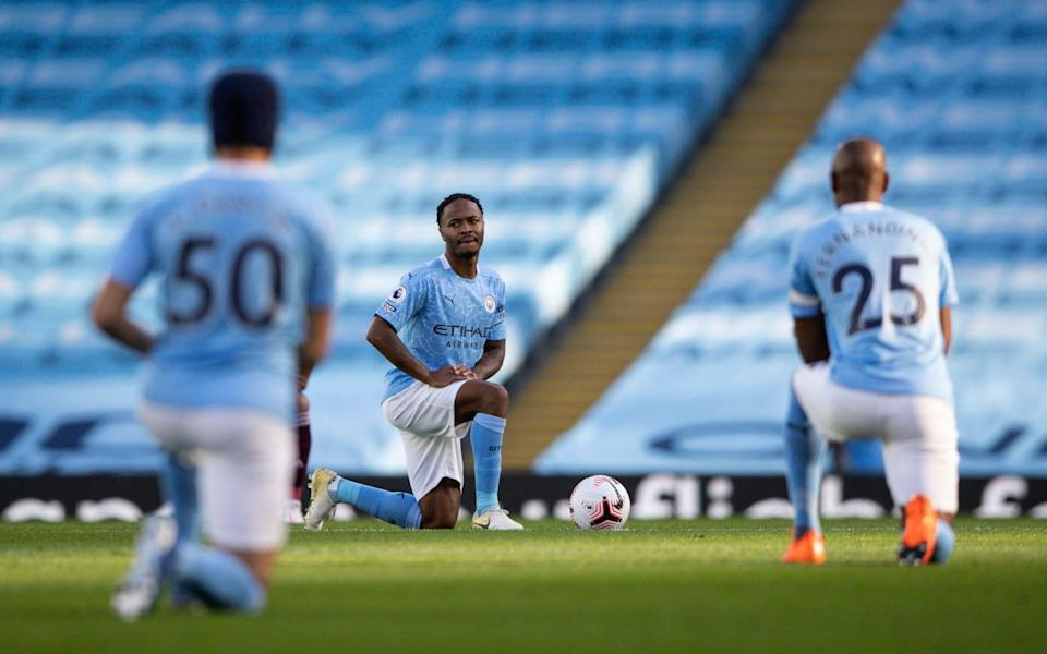 Raheem Sterling of Manchester City takes a knee in support of Black Lives Matter - Bradley Ormesher