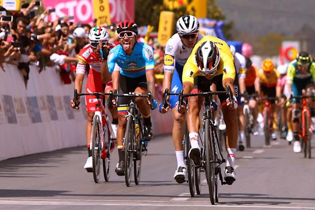 Juan Sebastian Molano (UAE Team Emirates) in the yellow points jersey at Tour Colombia 2.1, wins stage 3