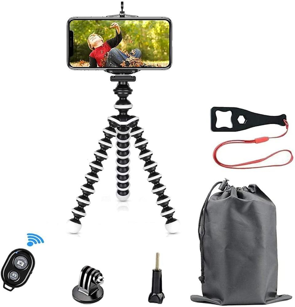<p>If they love getting creative and making fun TikToks with friends and family, upgrade their setup with this <span>SmilePowo Flexible Phone Tripod Kit</span> ($16, originally $27). It's perfect for travel and on-the-go use and comes with a Bluetooth remote and Go-Pro compatible accessories. </p>