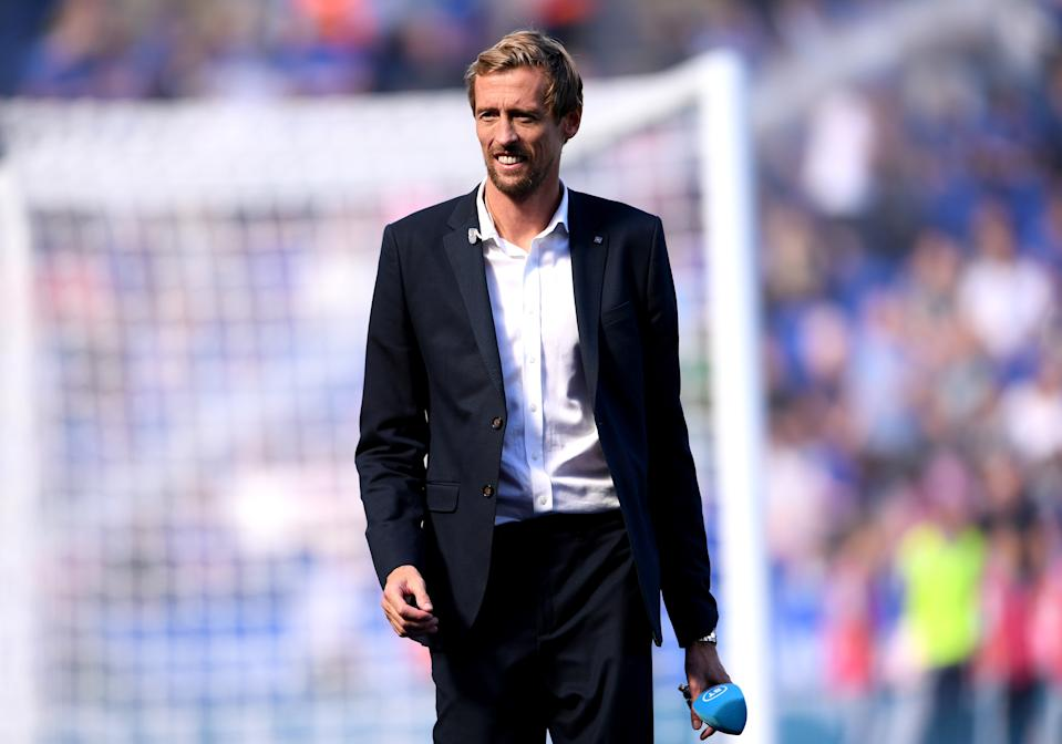 LEICESTER, ENGLAND - SEPTEMBER 21:  Pundit Peter Crouch looks on prior to the Premier League match between Leicester City and Tottenham Hotspur at The King Power Stadium on September 21, 2019 in Leicester, United Kingdom. (Photo by Laurence Griffiths/Getty Images)