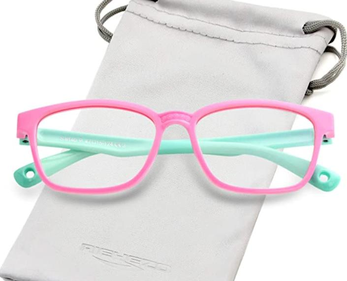 """These <a href=""""https://amzn.to/3jti2c1"""" rel=""""nofollow noopener"""" target=""""_blank"""" data-ylk=""""slk:blue light-blocking glasses for kids on Amazon"""" class=""""link rapid-noclick-resp"""">blue light-blocking glasses for kids on Amazon</a> are available in 16 colors. Find them for $17 on <a href=""""https://amzn.to/3jti2c1"""" rel=""""nofollow noopener"""" target=""""_blank"""" data-ylk=""""slk:Amazon"""" class=""""link rapid-noclick-resp"""">Amazon</a>."""