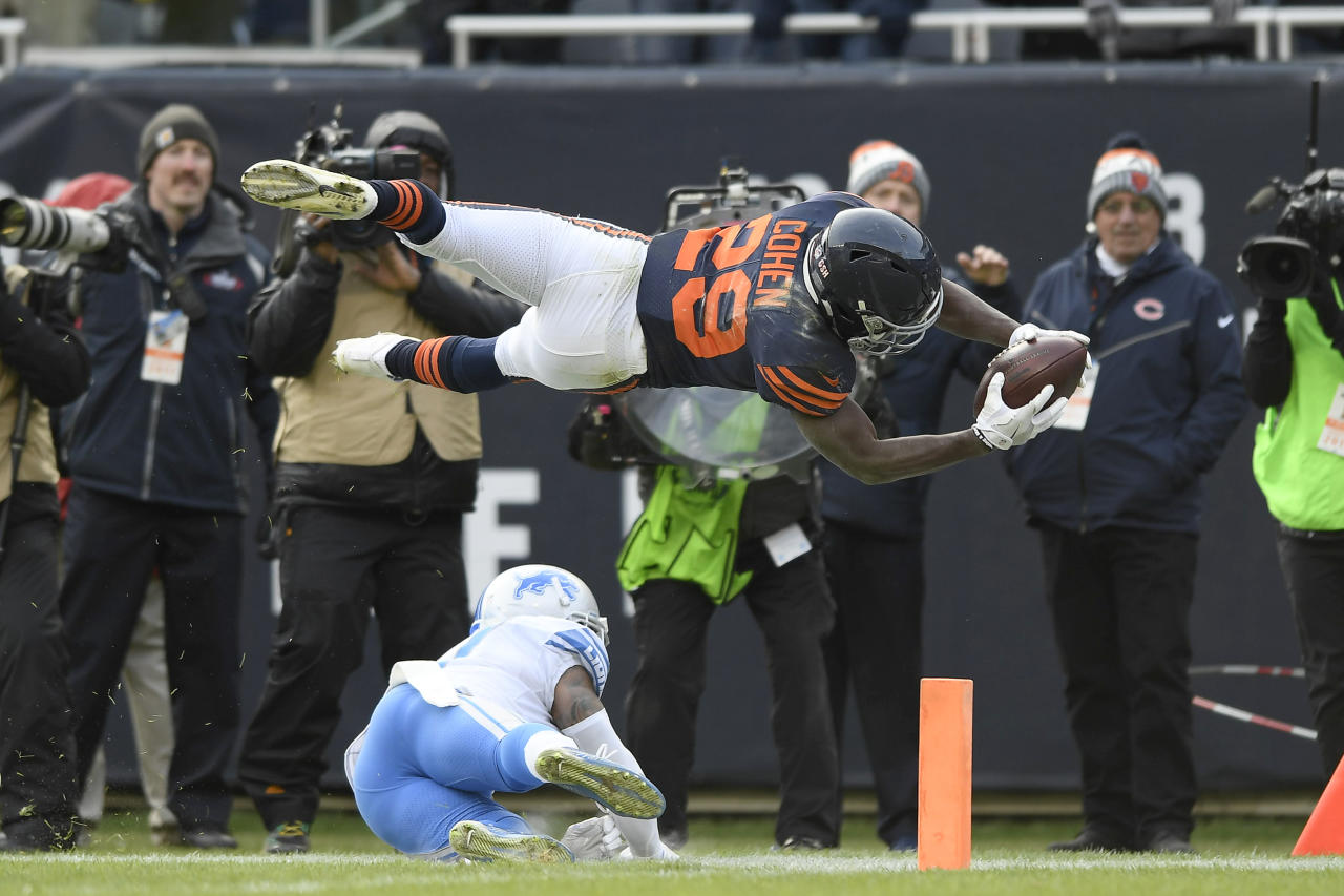 <p>Chicago Bears running back Tarik Cohen (29) dives into the endzone for a touchdoown over Detroit Lions free safety Glover Quin (27) in the fourth quarter during an NFL football game between the Detroit Lions and the Chicago Bears on November 19, 2017 at Soldier Field in Chicago, IL. (Photo by Robin Alam/Icon Sportswire via Getty Images) </p>