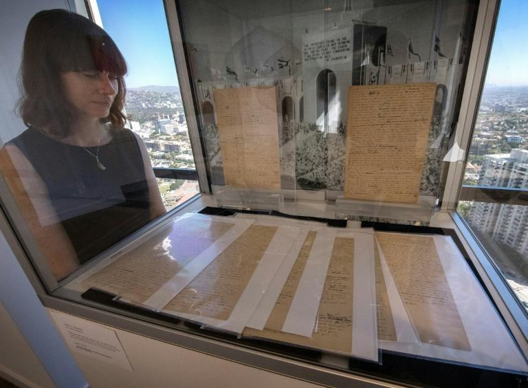 The original Olympic Games manifesto was on display at Sotheby's in Los Angeles on October 23 (AFP Photo/Mark RALSTON)