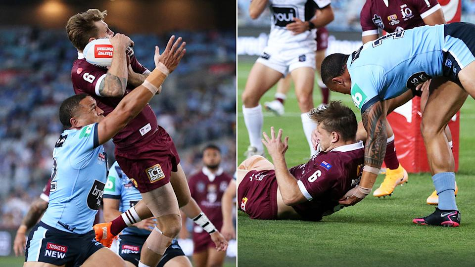 Seen here, the incident that saw Cameron Munster rubbed out early in Origin Game II.