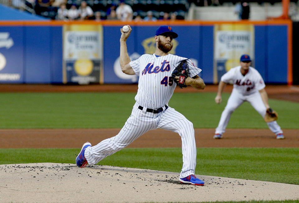Aug 6, 2019; New York City, NY, USA; New York Mets starting pitcher Zack Wheeler (45) pitches against the Miami Marlins during the first inning at Citi Field. Mandatory Credit: Andy Marlin-USA TODAY Sports
