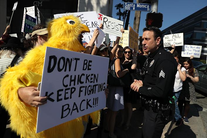 At a demonstration outside Feinstein's Los Angeles office in January 2017, protesters demand that Congress refuse to confirm President Trump's Cabinet picks. (Photo: Justin Sullivan/Getty Images)