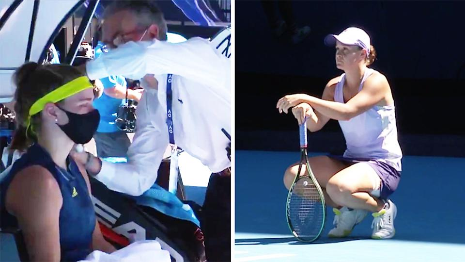 Ash Barty (pictured right) kneeling to stay warm and (pictured left) Karolina Muchova in tears while receiving treatment.