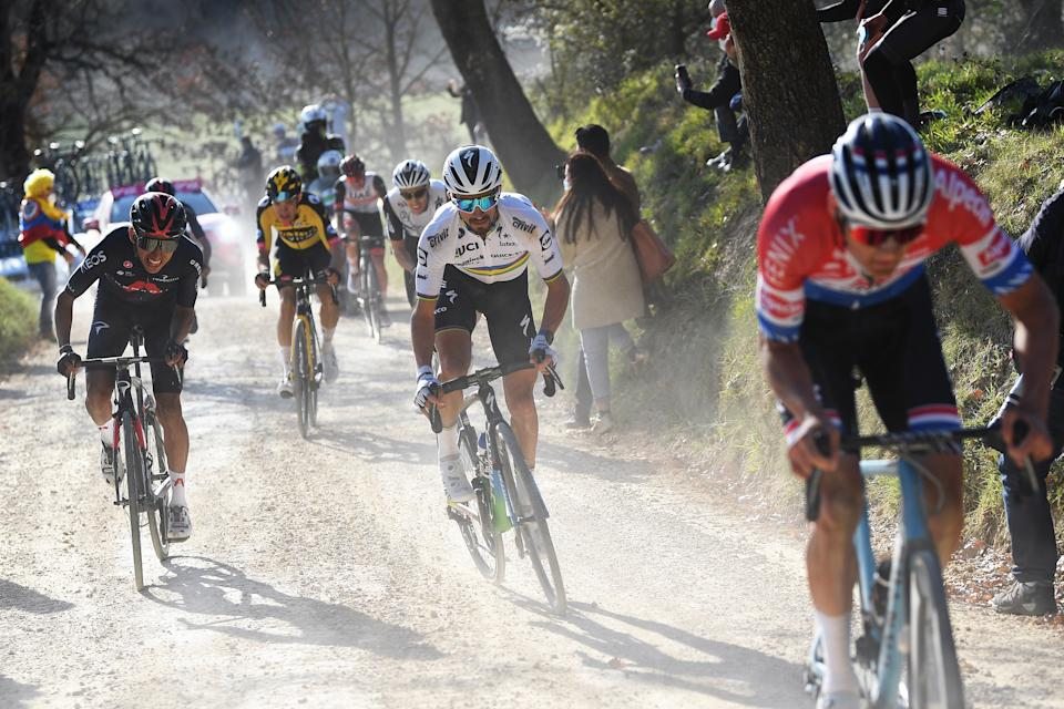 SIENA, ITALY - MARCH 06: Egan Arley Bernal Gomez of Colombia and Team INEOS Grenadiers, Wout Van Aert of Belgium and Team Jumbo - Visma, Julian Alaphilippe of France and Team Deceuninck - Quick-Step & Mathieu Van Der Poel of Netherlands and Team Alpecin-Fenix during the Eroica - 15th Strade Bianche 2021, Men's Elite a 184km race from Siena to Siena - Piazza del Campo / Breakaway / Gravel Strokes / Dust / #StradeBianche / on March 06, 2021 in Siena, Italy. (Photo by Tim de Waele/Getty Images)