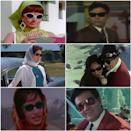 The Sixties were a time of exciting fashion trends in Hindi cinema. While the heroines flaunted skin-tight salwar kameez, beehive hair, and pretty scarves, the heroes donned dapper suits, colourful pullovers, slim-fit pants, and loafers. The eyewear segment too went big with an array of wayfarers, oversized, and butterfly shaped shades. (From top left to right) Babita in Haseena Maan Jayegi (1968), Rajendra Kumar in Shatranj (1969), Nanda in Jab Jab Phool Khile (1965), Raj Kapoor and Vyjayanthimala in Sangam (1964), Sadhana in Arzoo (1965) and Prem Chopra in Anjaana (1969)