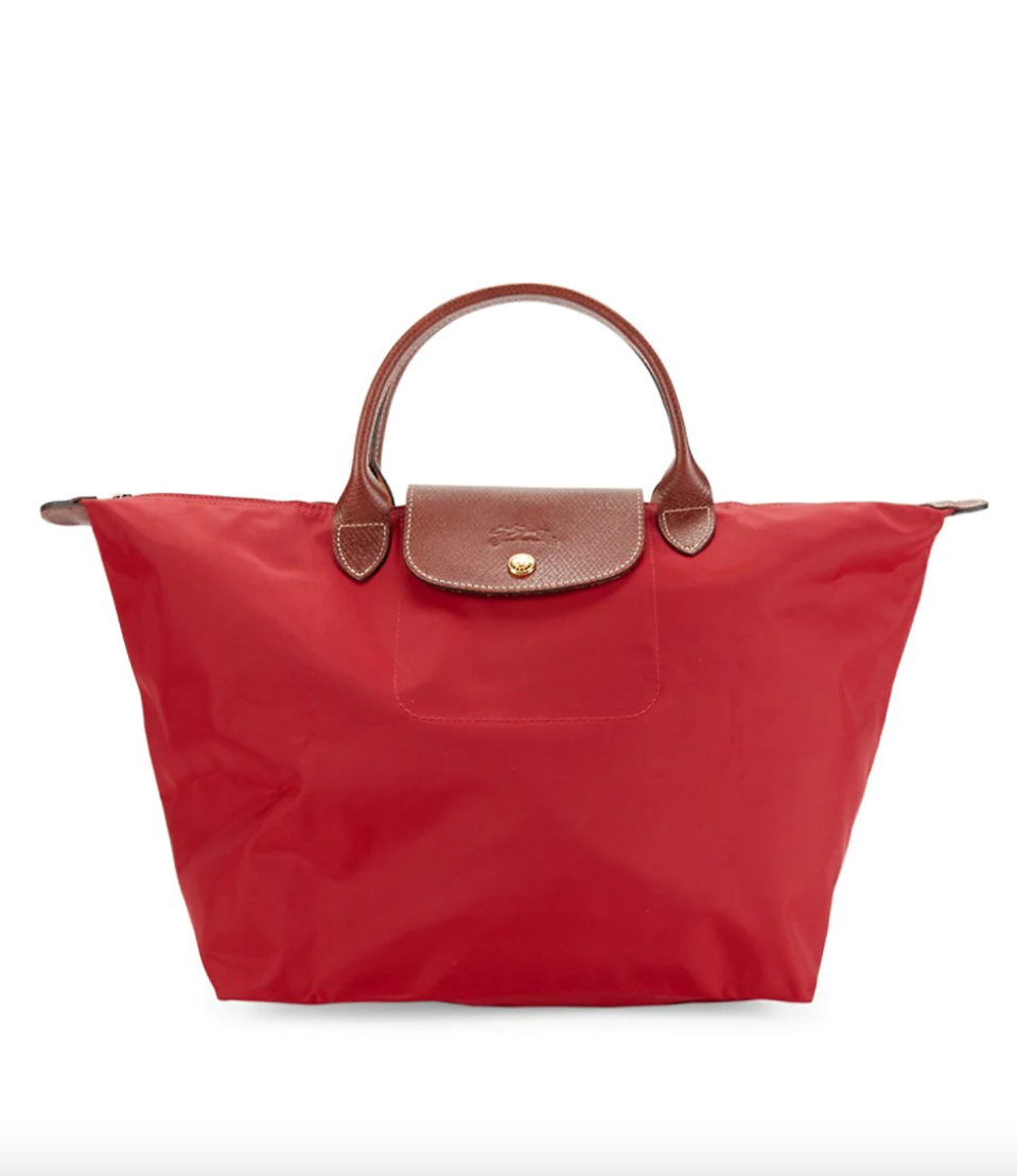 Longchamp 'Le Pliage' Top Handle Bag in Red (Photo via Saks Off Fifth)