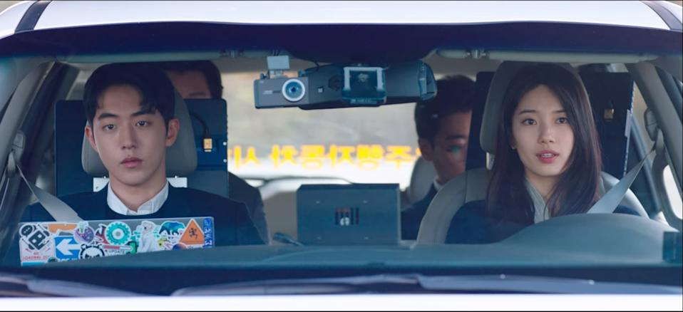 Nam Do San (Nam Joo Hyuk, left) and Seo Dal Mi (Bae Suzy) test drive their new self-driving car and the resolve of their relationship after a time skip in Start-up.