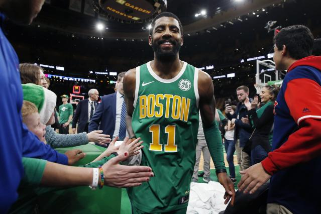"<a class=""link rapid-noclick-resp"" href=""/nba/players/4840/"" data-ylk=""slk:Kyrie Irving"">Kyrie Irving</a> has yet to play a playoff game in Boston. (AP)"