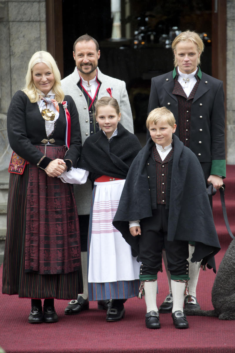 Princess Mette-Marit of Norway and Crown Prince Haakon share children Princess Ingrid Alexandra, and Prince Sverre Magnus, along her son from a previous relationship, Marius Borg Hoiby. Photo: Getty