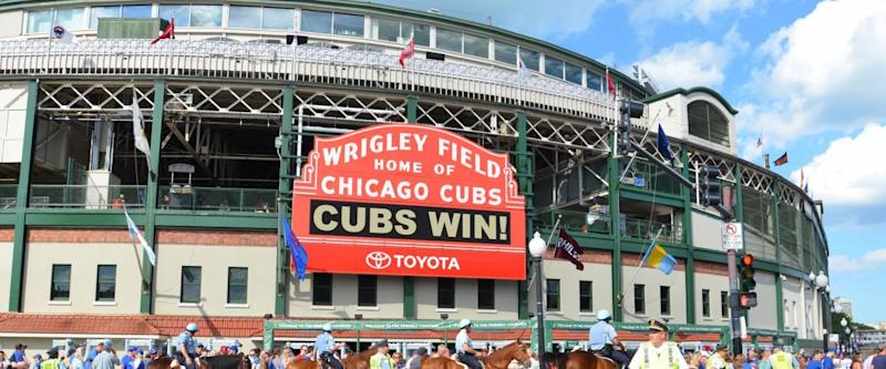 CHICAGO - MAY 29: Wrigley Field, home of the Chicago Cubs, is shown here on May 29, 2016. Fans are celebrating their 7-2 win against the Philadelphia Phillies.