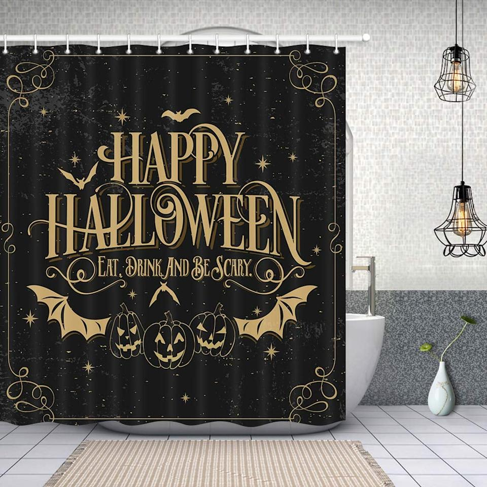 """<p>With a surprisingly neutral color palette but plenty of <a class=""""sugar-inline-link ga-track"""" title=""""Latest photos and news for Halloween"""" href=""""https://www.popsugar.com/Halloween"""" target=""""_blank"""" data-ga-category=""""Related"""" data-ga-label=""""https://www.popsugar.com/Halloween"""" data-ga-action=""""&lt;-related-&gt; Links"""">Halloween</a> designs, the <a href=""""https://www.popsugar.com/buy/Happy-Halloween-Bat-Pumpkin-Shower-Curtain-479678?p_name=Happy%20Halloween%20Bat%20With%20Pumpkin%20Shower%20Curtain&retailer=amazon.com&pid=479678&price=18&evar1=casa%3Aus&evar9=46496135&evar98=https%3A%2F%2Fwww.popsugar.com%2Fphoto-gallery%2F46496135%2Fimage%2F46496894%2FHappy-Halloween-Bat-Pumpkin-Shower-Curtain&list1=halloween%2Cshowers%2Cbathrooms&prop13=api&pdata=1"""" rel=""""nofollow"""" data-shoppable-link=""""1"""" target=""""_blank"""" class=""""ga-track"""" data-ga-category=""""Related"""" data-ga-label=""""http://www.amazon.com/NYMB-Halloween-Polyester-Waterproof-Curtains/dp/B0741X1PH5/"""" data-ga-action=""""In-Line Links"""">Happy Halloween Bat With Pumpkin Shower Curtain</a> ($18) is just right for adding Halloween to your bathroom without crazy colors.</p>"""