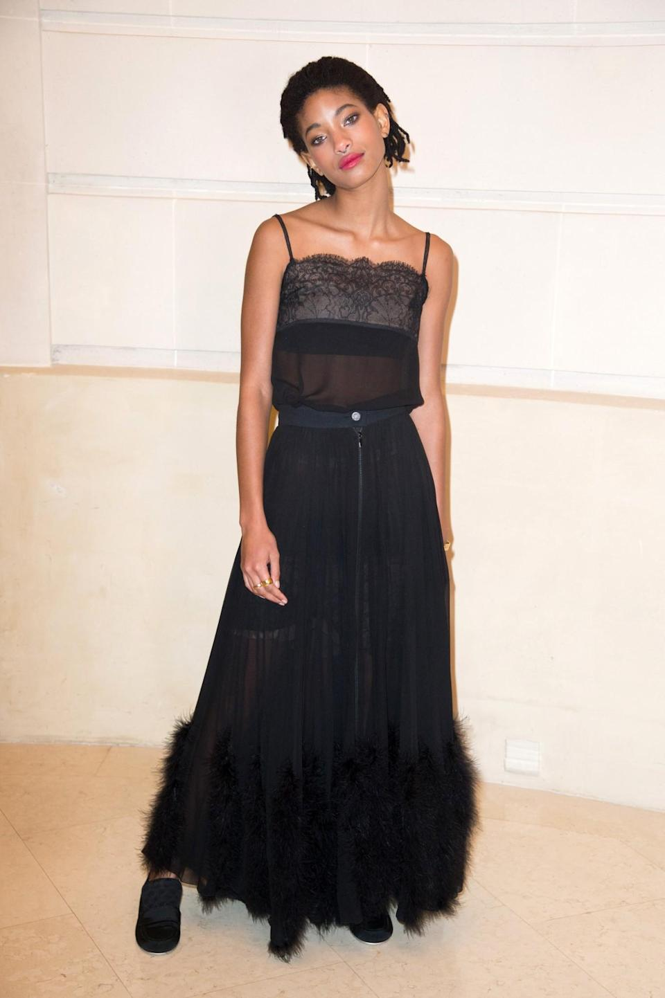 <p>Gone are the days where teenagers wear skirts as short as possible. Today's cool kids, such as Will Smith's youngest, are wearing floor-sweeping maxi skirts teamed with sheer tops. [Photo: Getty] </p>