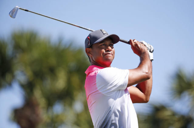 Tiger Woods tees off on the fourth hole during the second round of the Honda Classic golf tournament, Friday, Feb. 23, 2018, in Palm Beach Gardens, Fla. (AP Photo/Wilfredo Lee)