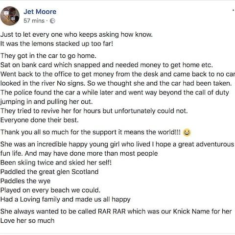 Kiara's father explained the accident on his Facebook page