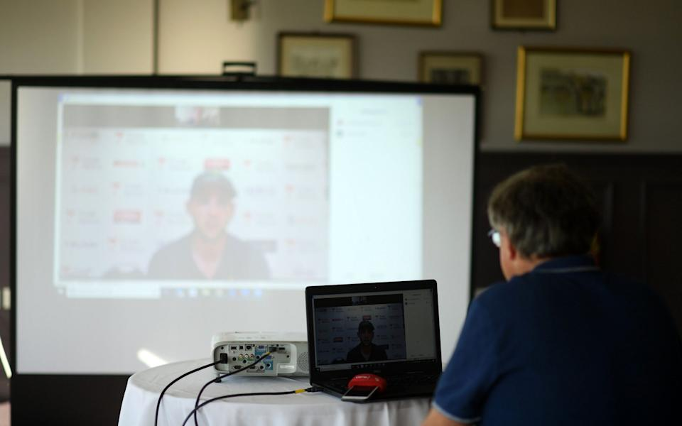 Glamorgan's Chris Cook is interviewed via Zoom after the day's play - Getty Images