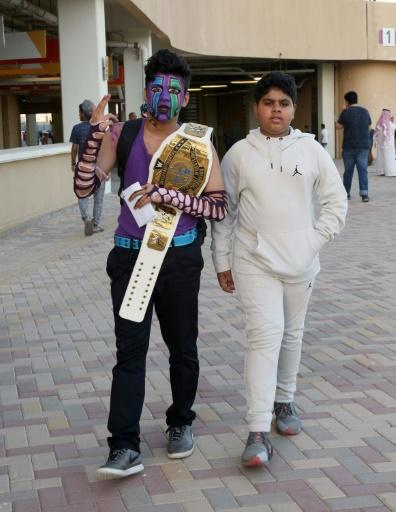 Saudi youths arrive to attend the World Wrestling Entertainment (WWE) Greatest Royal Rumble event in the Saudi coastal city of Jeddah
