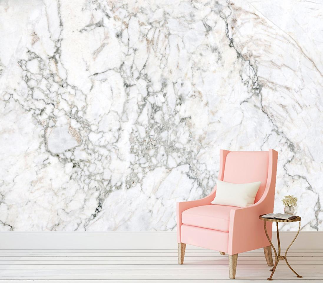 """The Wallscape Company Marble Peel and Stick Wallpaper, $300; at <a rel=""""nofollow"""" href=""""https://www.etsy.com/listing/489906802/marble-peel-and-stick-wallpaper-adhesive?ga_order=most_relevant&ga_search_type=all&ga_view_type=gallery&ga_search_query=marble%20wall%20paper&ref=sc_gallery_4&plkey=1a01e6a1372b2ee62bba6abd7ca66cedd8e1dce8:489906802"""" rel="""""""">Etsy</a>"""