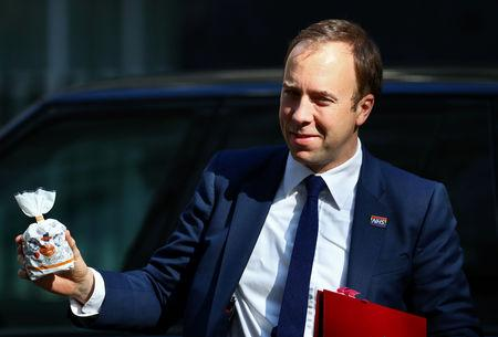 Britain's Secretary of State for Health Matt Hancock is seen outside Downing Street, as uncertainty over Brexit continues, in London, Britain May 21, 2019. REUTERS/Hannah Mckay