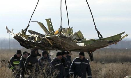 Crane transports a piece of the Malaysia Airlines flight MH17 wreckage at the site of the plane crash near the village of Hrabove (Grabovo) in Donetsk region