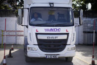 Learner truck driver Cadhene Lubin-Hewitt practices a reversing manoeuvre in a truck at the National Driving Centre in Croydon, south London, Wednesday, Sept. 22, 2021. Lubin-Hewitt, 32, moved to the UK when he was 16 from Trinidad and Tobago and has been driving buses and coaches for about 10 years. Britain doesn't have enough truck drivers. The shortage is contributing to scarcity of everything from McDonald's milkshakes to supermarket produce. (AP Photo/Matt Dunham)