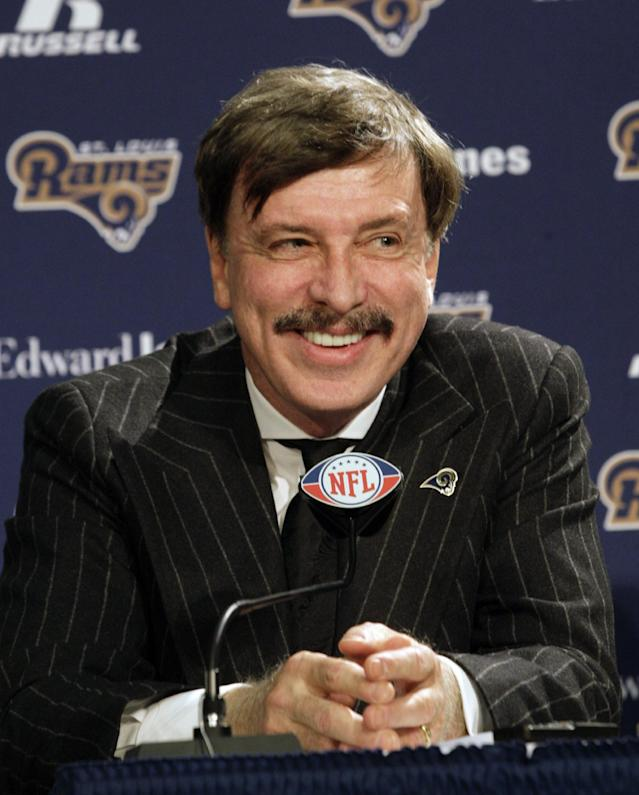 FILE - In this jan.1 6, 2012, file photo, St. Louis Rams owner Stan Kroenke speaks during an NFL football news conference in St. Louis. A company tied to the Rams owner, has purchased a prime piece of land in the Los Angeles area amid speculation the NFL franchise is considering a return to the city it left for the Midwest nearly two decades ago. (AP Photo/Tom Gannam, File)