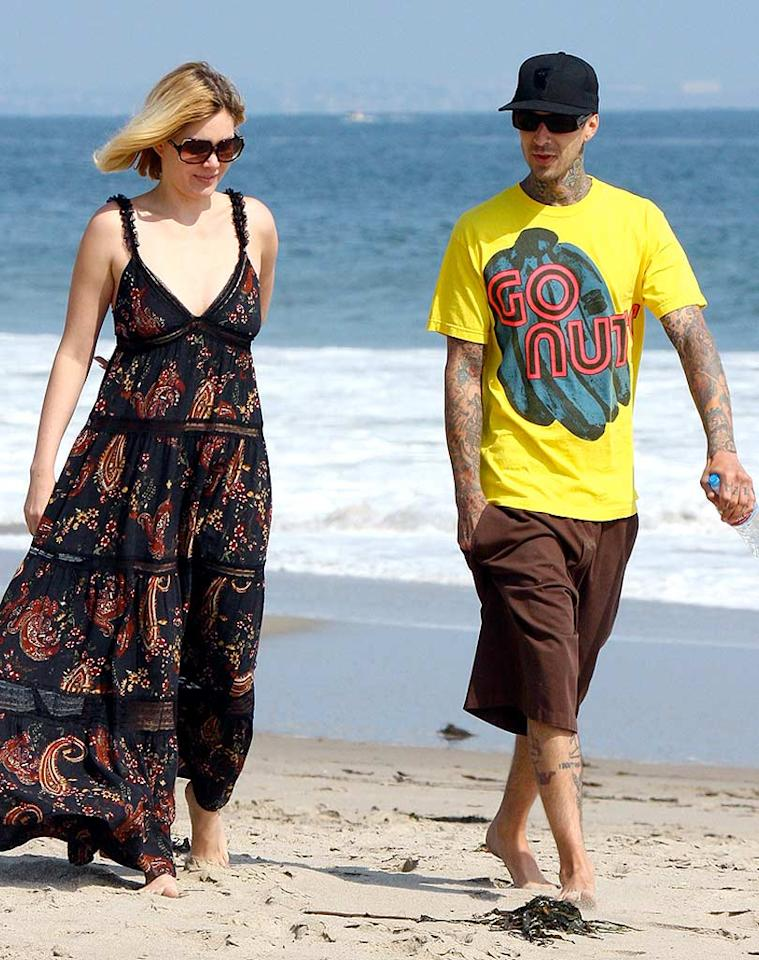 """I think Travis Barker's shirt says it all! Are he and his ex-wife/former Playboy bunny Shana Moakler actually considering getting back together? We're rooting for this on-again/off-again couple, but we don't expect a second trip down the aisle for these two. AlphaX/<a href=""""http://www.x17online.com"""" target=""""new"""">X17 Online</a> - May 5, 2008"""
