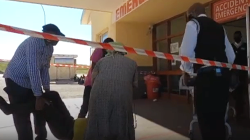 A patient being carried into an emergency entrance at Dora Nginza hospital in the Eastern Cape, South Africa