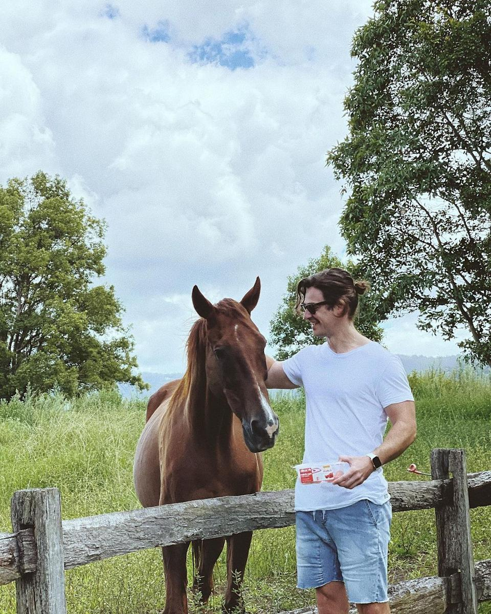 Matt Agnew patting a brown horse in a paddock