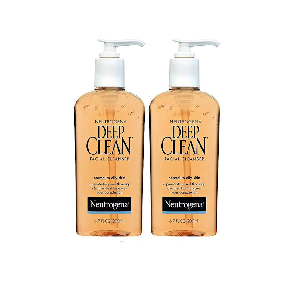 """<p><strong>Neutrogena</strong></p><p>amazon.com</p><p><strong>$18.92</strong></p><p><a href=""""https://www.amazon.com/dp/B00JF2TRJ4?tag=syn-yahoo-20&ascsubtag=%5Bartid%7C2164.g.34963365%5Bsrc%7Cyahoo-us"""" rel=""""nofollow noopener"""" target=""""_blank"""" data-ylk=""""slk:Shop Now"""" class=""""link rapid-noclick-resp"""">Shop Now</a></p><p>Made without any alcohols or oils, this cleanser is formulated for normal to oily skin. Plus, beta hydroxy acids help to remove dead skin cells so your skin is squeaky clean! Note: This price is for a pack of two. </p>"""