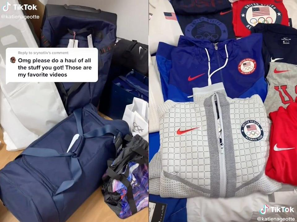 Red, white, and blue Nike merchandise gifted to US Olympians
