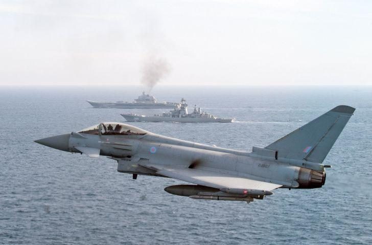 An RAF Typhoon shadows Russian navy vessels as they pass through the English Channel (MoD)