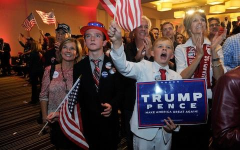 Mr Trump's supporters celebrate on election night - Credit: AFP