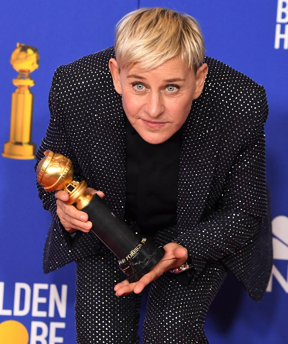 Ellen Degeneres poses in the press room at the 77th Annual Golden Globe Awards at The Beverly Hilton Hotel on January 05, 2020 in Beverly Hills, California. (Photo by Steve Granitz/WireImage,)