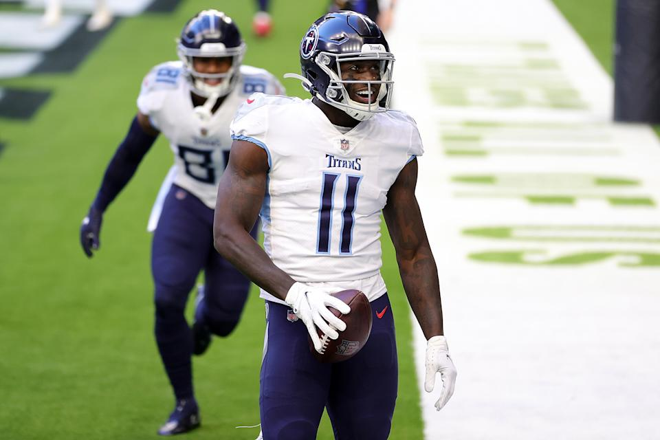 Titans wide receiver A.J. Brown will get to keep No. 11 after his newest teammate Julio Jones wouldn't take it from him. (Photo by Carmen Mandato/Getty Images)