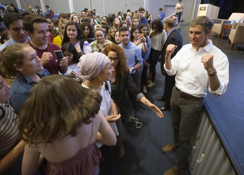 In this Sept. 5, 2019 photo, Democratic presidential candidate Beto O'Rourke greets students after speaking at a event at Tufts University in Medford, Mass. (AP Photo/Winslow Townson)