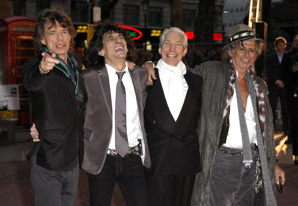 AUGUST 24th 2021: Charlie Watts - drummer for The Rolling Stones - has died at the age of 80. He was born in London, England on June 2nd 1941 and died in London, England on August 24th 2021. - File Photo by: zz/DP/AAD/STAR MAX/IPx 2008 4/2/08 Mick Jagger, Ronnie Wood, Charlie Watts and Keith Richards of The Rolling Stones at the premiere of
