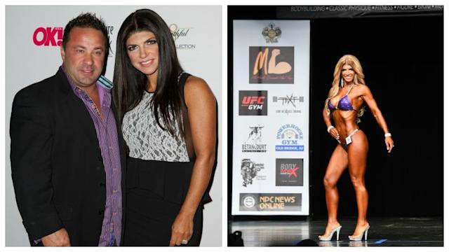 Giudice (with husband Joe in 2013 and as a bodybuilding contestant this month) debuted a dramatic new look. (Photo: Getty Images)