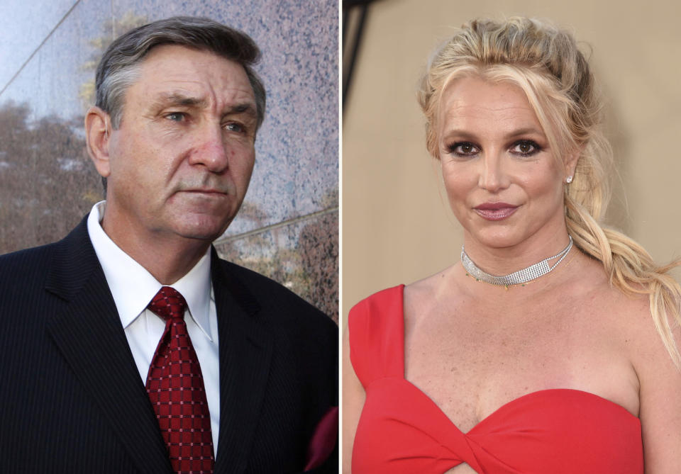 """In this combination photo, Jamie Spears, father of singer Britney Spears, leaves the Stanley Mosk Courthouse on Oct. 24, 2012, in Los Angeles, left, and Britney Spears arrives at the premiere of """"Once Upon a Time in Hollywood"""" on July 22, 2019, in Los Angeles. Britney Spears said in a court filing Wednesday that she agrees with her father that the conservatorship that has controlled her life and money since 2008 should be terminated. The filing in Los Angeles Superior Court from the singer's attorney Mathew Rosen says she """"fully consents"""" to """"expeditiously"""" ending the conservatorship. (AP Photo)"""