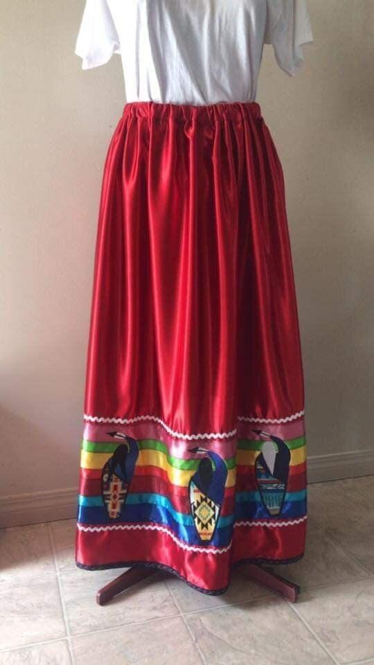 One of Swampy's skirts, a red garment with multi-coloured ribbons. (Photo: Katherine Swampy)
